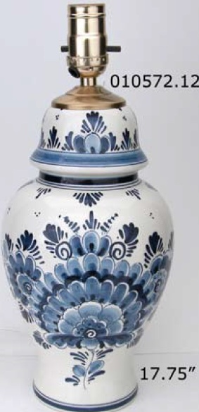 "DeWit 17.75"" Hand Painted Blue Floral Lamp (010572.12)"