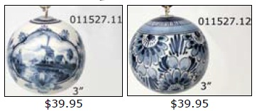"DeWit Delft Ball Shape 3"" Ornaments (011527)"