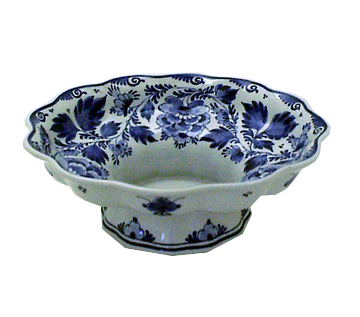 "De Porceleyne Fles 9"" Blue Floral Fluted Footed Bowl (1032)"