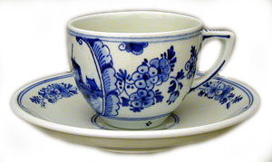 "De Porceleyne Fles Blue 3"" Windmill Teacup and Saucer (1128)"