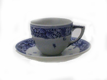 "De Porceleyne Fles Blue 3"" Windmill Teacup and Saucer (1129)"