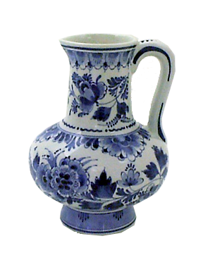 "De Porceleyne Fles Blue 7"" Floral Pitcher (5002)"