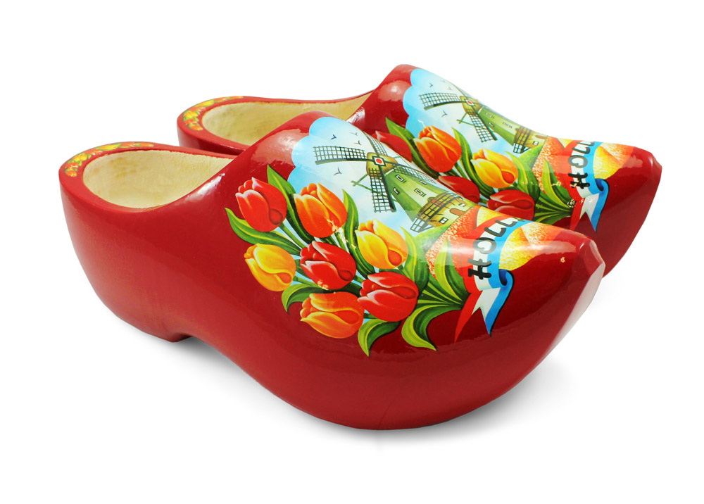 Red Wooden Shoes with Tulip & Windmill Design