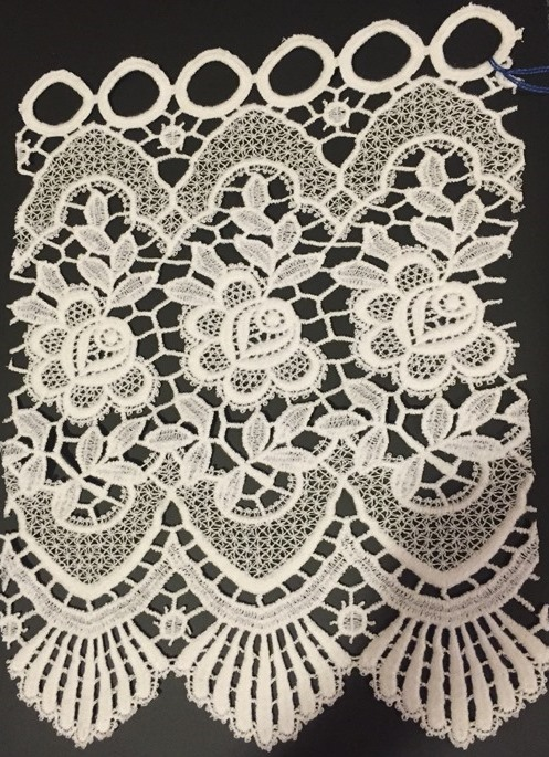 "Dutch Macrame Lace Rose 12"", White (Price/half yard)"