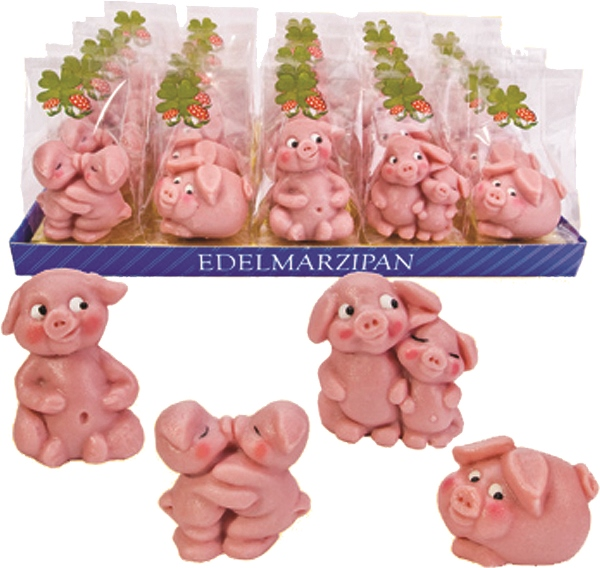 Funsch Marzipan Lucky Pig in Gift Bag (1 only) (1 LEFT)