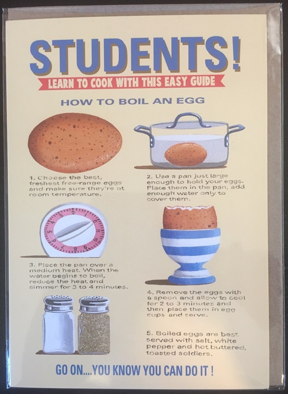 Students! Learn To Cook Easy Guide Card