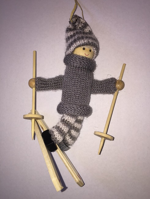 Ski Ornament - Man on skis (grey) (two left)