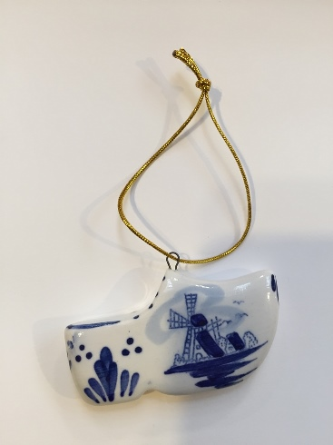 Blue/White Little Clog Ornament w Windmill