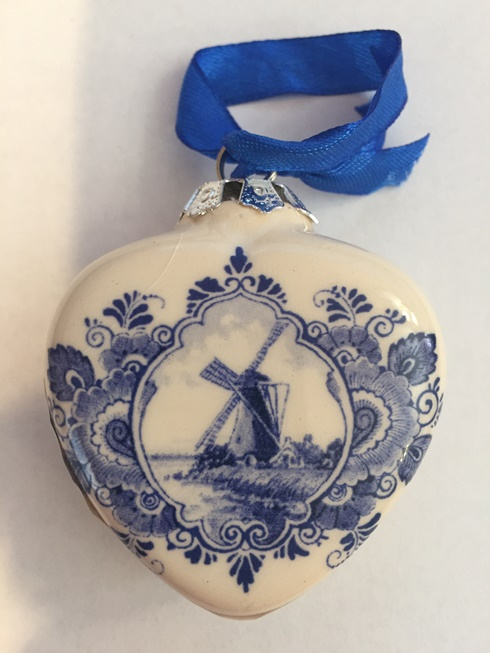 Blue/White Heart Shaped Ornament (Windmill / Flowers)
