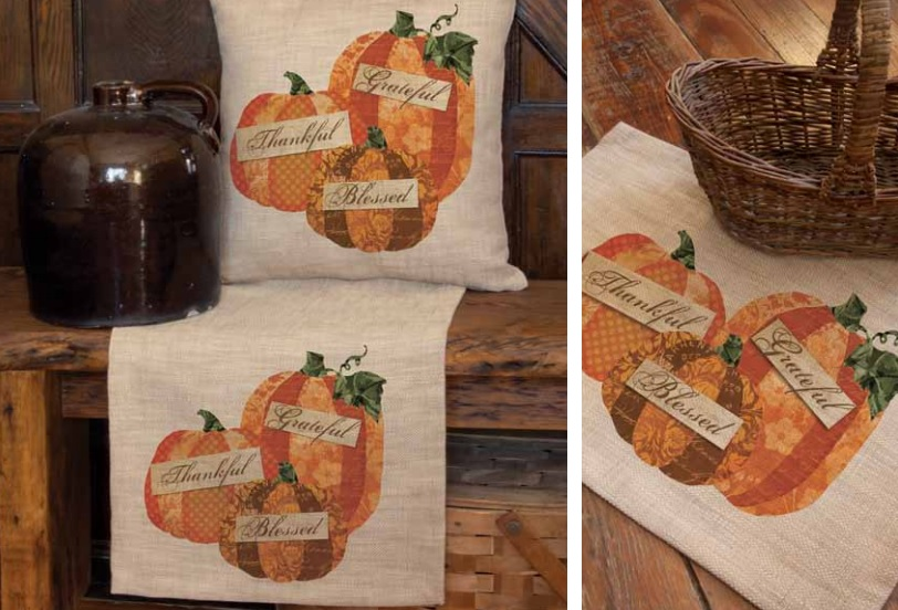 Patchwork Pumpkin Pillow and Table Textiles