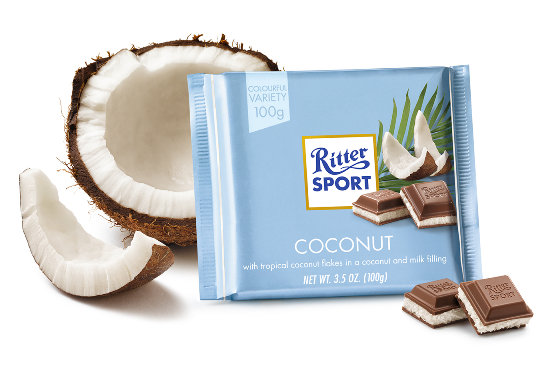 Ritter Sport Milk Chocolate Coconut (SELL-BY DATE 13 JUNE 2017)