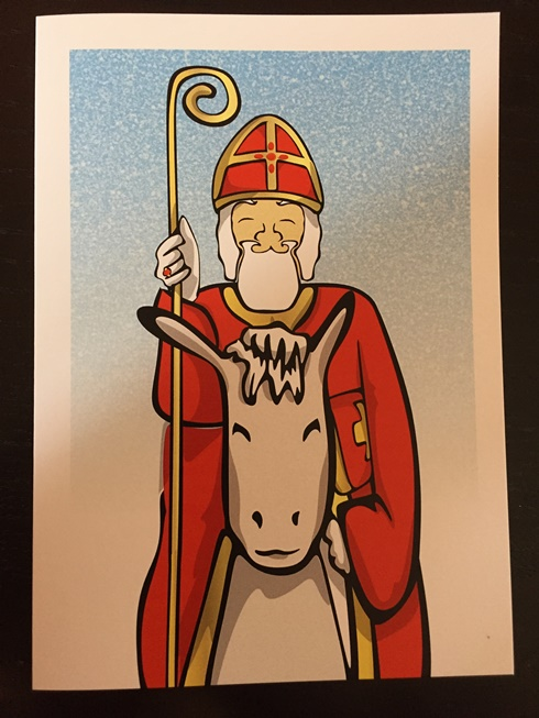 Card Sinterklaas on a Horse