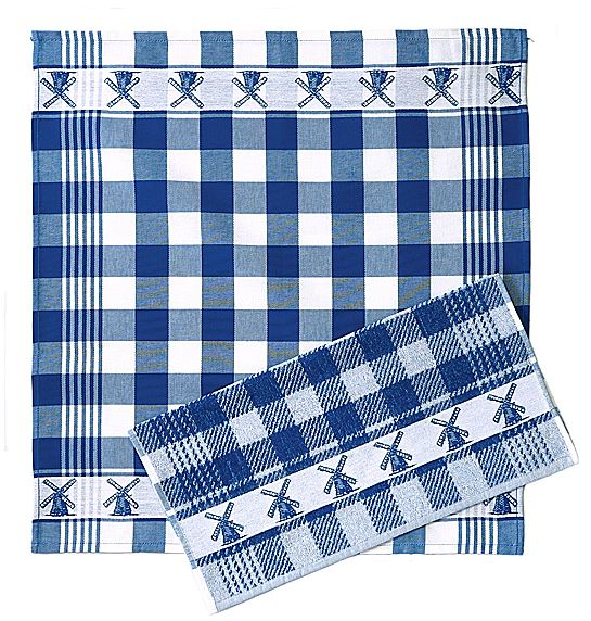 Kitchen Towel (fuzzy) - Windmills, Blue