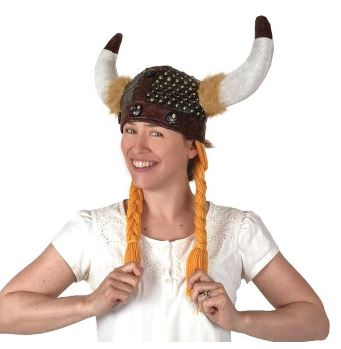 Viking Horned Hat with Braids (1 LEFT- DISPLAY STOCK)