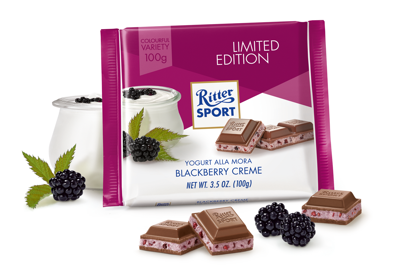 Ritter Sport Yogurt Blackberry Creme (SELL-BY 08DEC17) (3 LEFT)