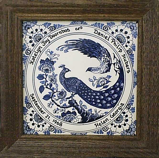 Traditional Personalized Wedding Tile (blue and white)