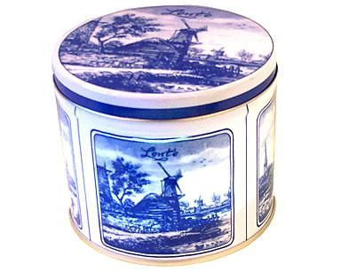 Blue and White Stroopwafel Tin (EMPTY)