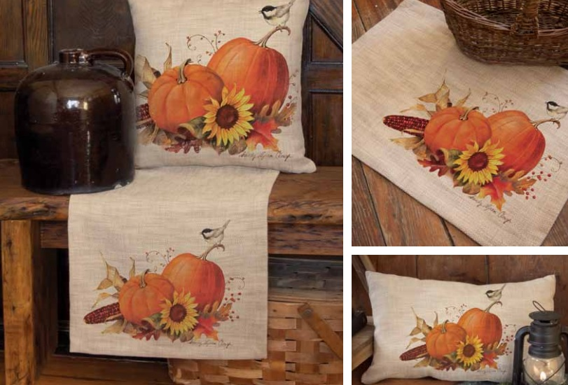 Harvest Pumpkin Pillows and Table Textiles