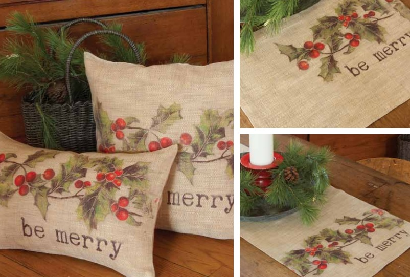 Holly-be-Merry Pillows and Table Textiles