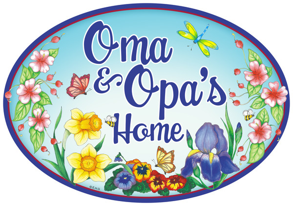 Oma and Opa's Home Door sign