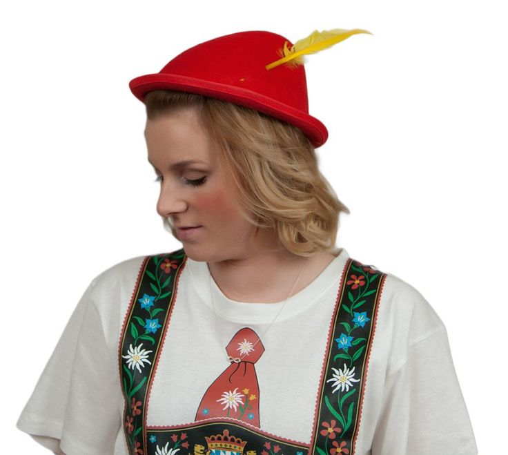 Red Tyrolean Hat with Feather (OUT OF STOCK)