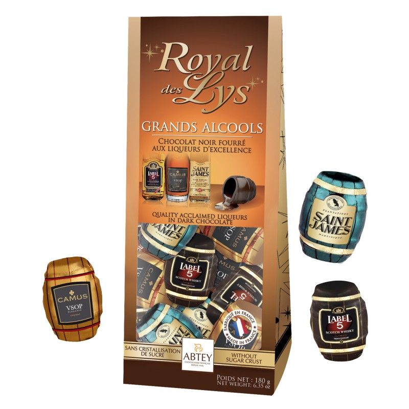 *Abtey Royal des Lys Grands Alcools (Acclaimed liqueurs) in dark