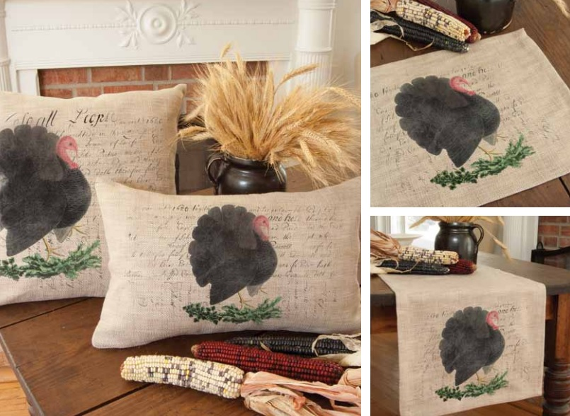 Thanksgiving Turkey Pillows and Table Textiles