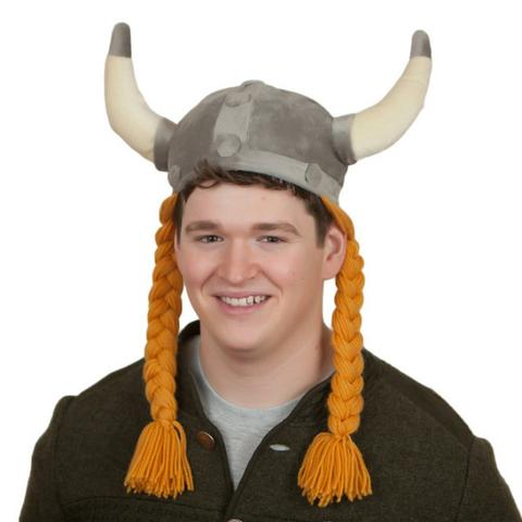 """Viking"" Horned Hat with Braids"