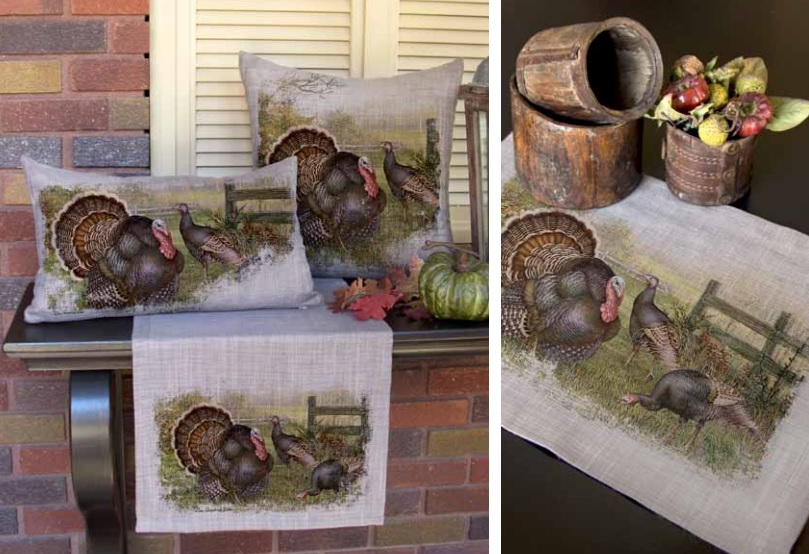 Wild Turkey Pillows and Table Textiles