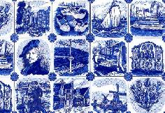 Delft Blue Wrapping Paper- 1 yard (from the roll)