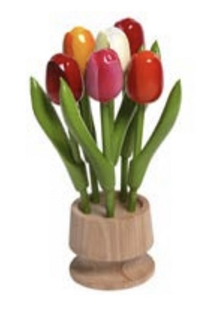 6 Wooden Tulips in Flower Pot  6.25in
