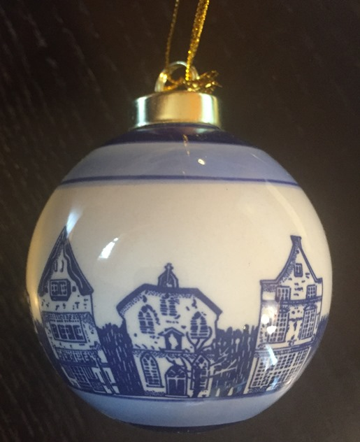 Blue/White Ball Ornament Canal Houses (OUT OF STOCK)