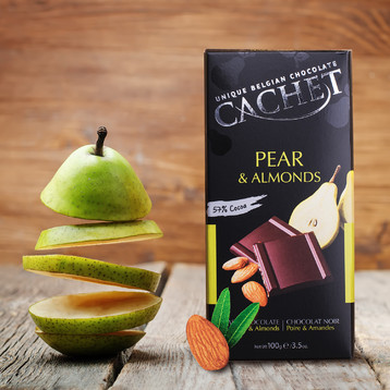 Cachet Pear & Almonds 57% Dark Chocolate (OUT OF STOCK)