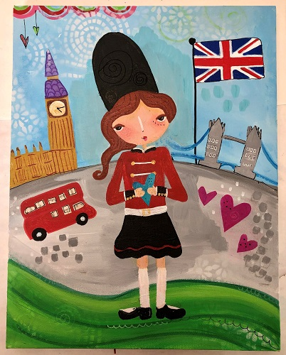 Print of English Girl - locally made by Carlas Funky Art