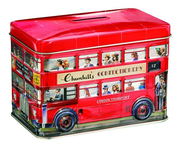 Churchills English Toffees in Double Decker Bus Tin