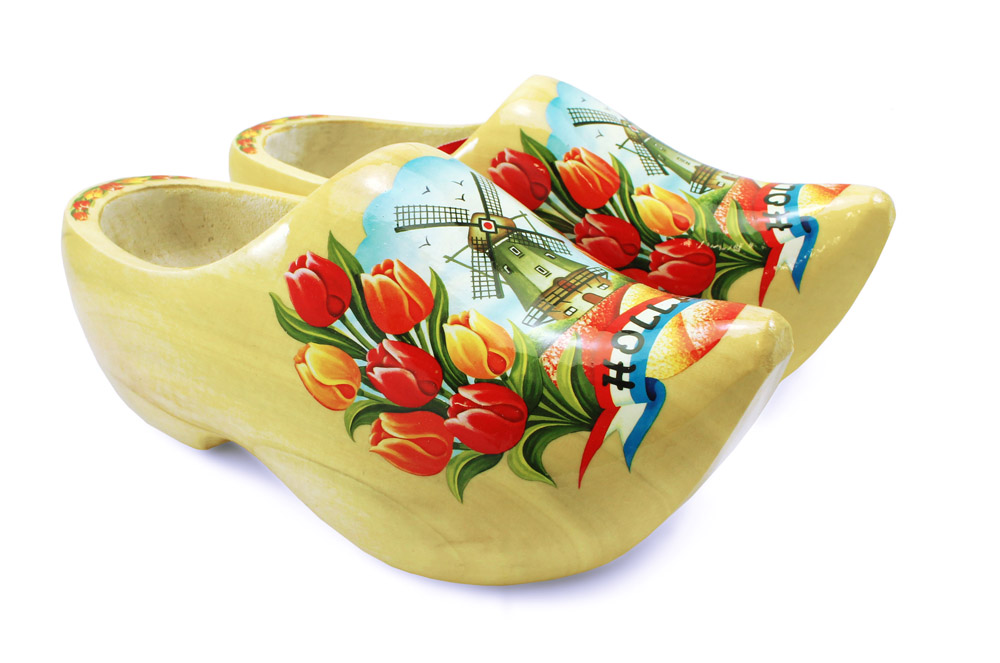 Varnished Wooden Shoes with Tulip & Windmill Design