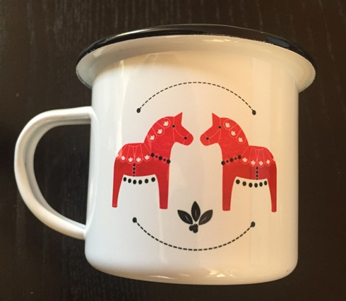 Ceramic Enamel Camping Mug Dala Horses - Red (out of stock)