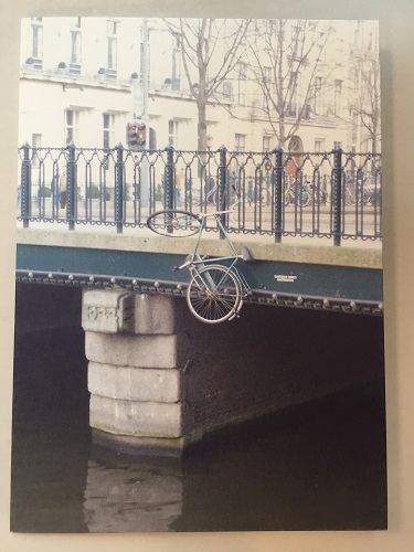 Hanging Bicycle on Canal Bridge Card