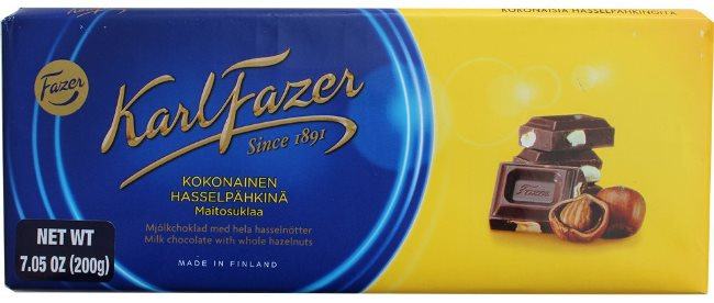 *Karl Fazer Milk Choc with Whole Hazelnuts Bar