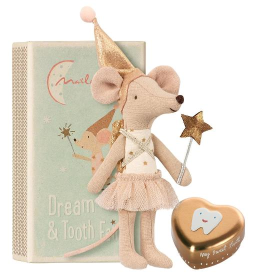 Maileg Tooth Fairy. Big Sister Mouse in Metal Box