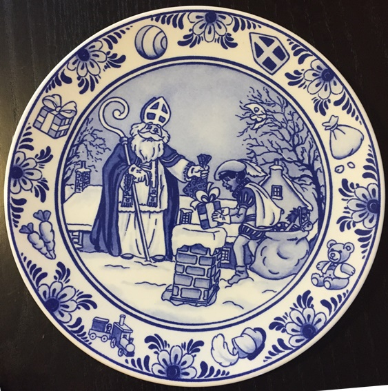 Plaque Sinterklaas & Zwarte Piet in blue/white (ONLY 2 LEFT)