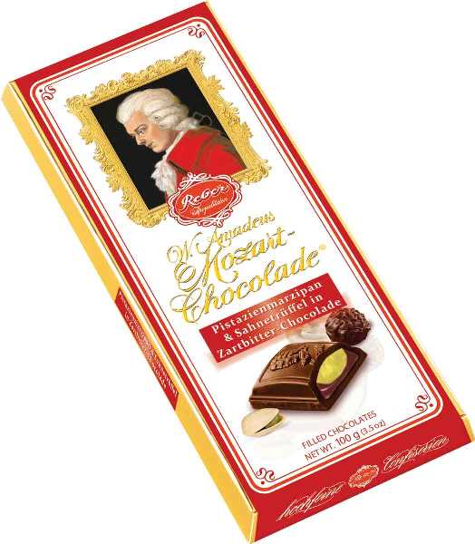 Reber Mozart Dark Chocolate Pistachio Marzepin Bar