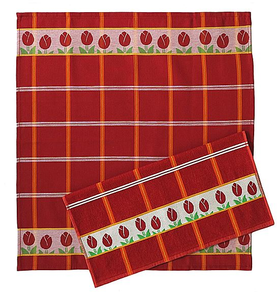 Kitchen Towel (fuzzy) - Tulips, Red