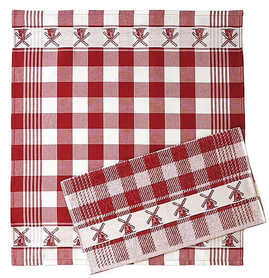 Tea Towel (non-fuzzy) - Windmill, Red