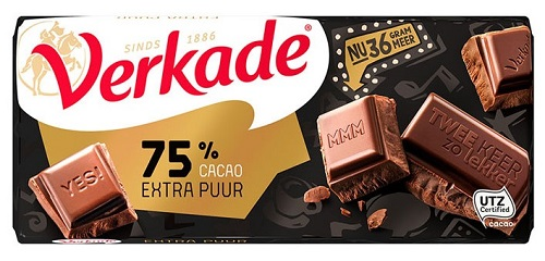 Verkade Extra Dark 75% Chocolate Bar