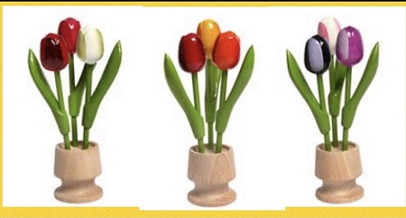 3 Wooden Tulips in Flower Pot - 6.25in (1 pot only)