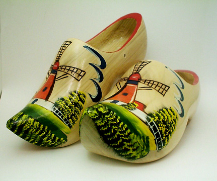 Windmill Design Wooden Shoes (only one size 22cm available)