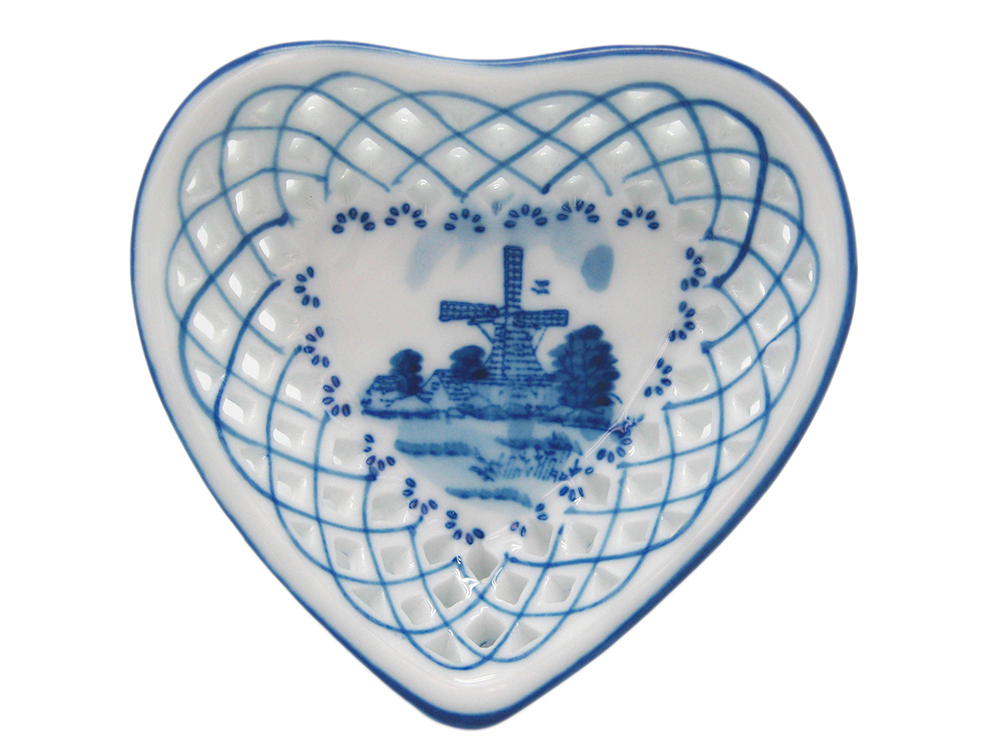 "Blue/White Heart Dish 3""  (MINIMUM ORDER 42)"