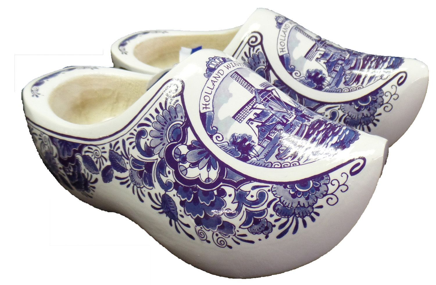 Delft Blue Wooden Shoes with Windmill Design